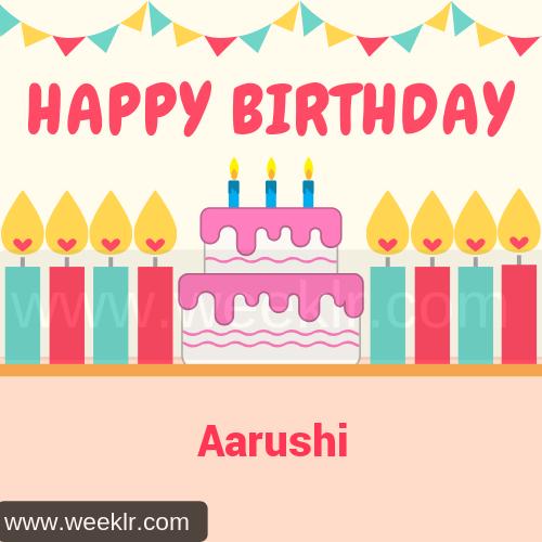 Candle Cake Happy Birthday  Aarushi Image