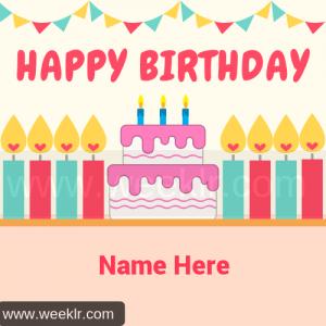 Happy Birthday Candle Cake Name Photo Tool