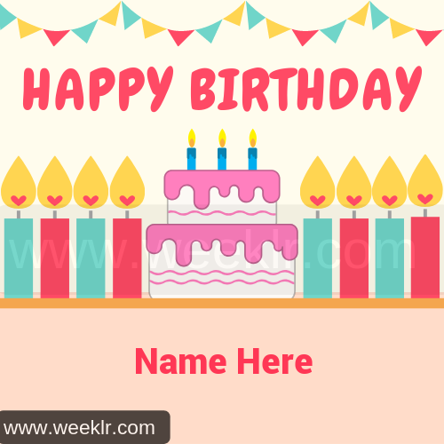 Happy Birthday Candle Cake Name Photo Tool