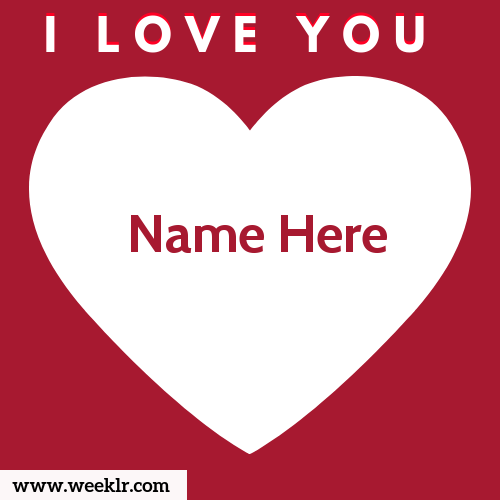 Write Name on I Love You Photo Card. Write Name on Heart Love Photo