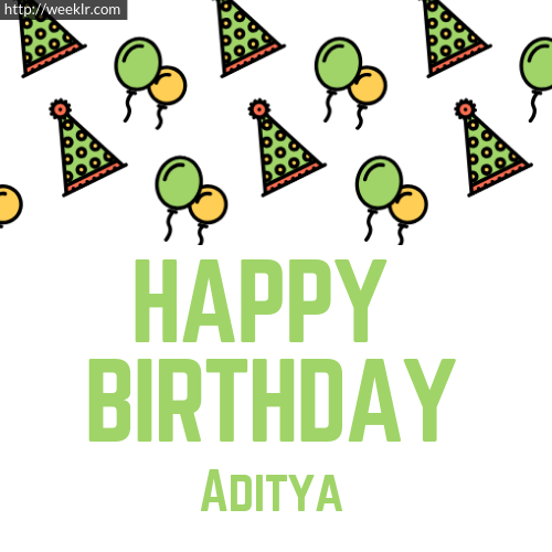 Download Happy birthday -Aditya- with Cap Balloons image