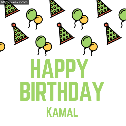 Download Happy birthday -Kamal- with Cap Balloons image