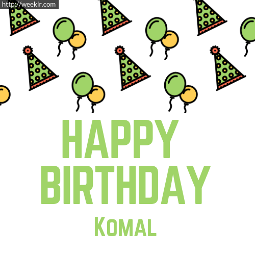 Download Happy birthday -Komal- with Cap Balloons image