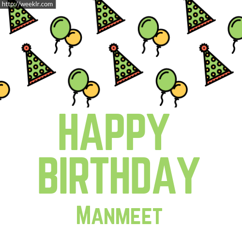 Download Happy birthday -Manmeet- with Cap Balloons image