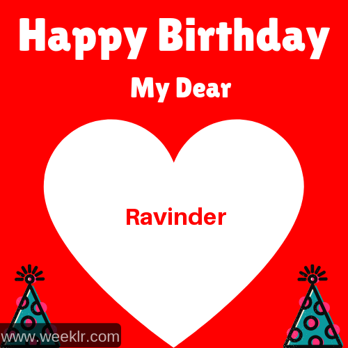Happy Birthday My Dear -Ravinder- Name Wish Greeting Photo