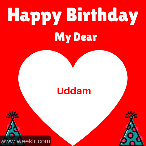 Happy Birthday My Dear Uddam Name Wish Greeting Photo