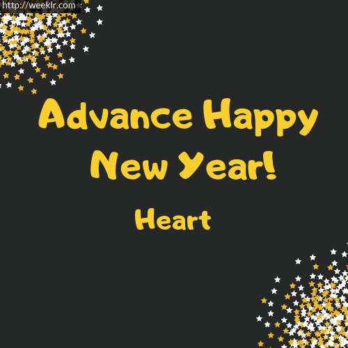 Heart Advance Happy New Year to You Greeting Image