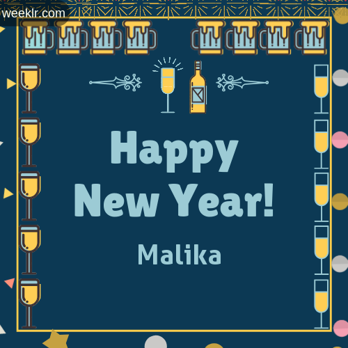 -Malika- Name On Happy New Year Images