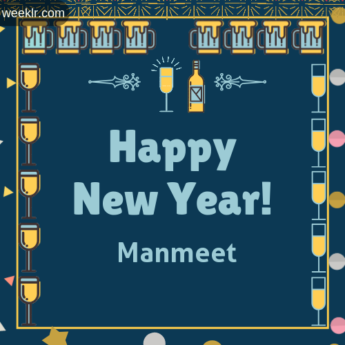 -Manmeet- Name On Happy New Year Images