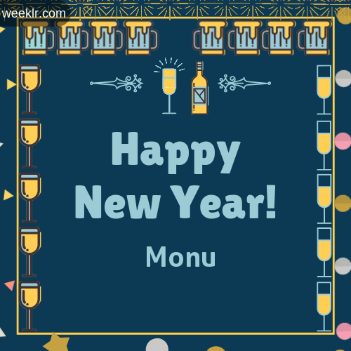 Monu   Name On Happy New Year Images