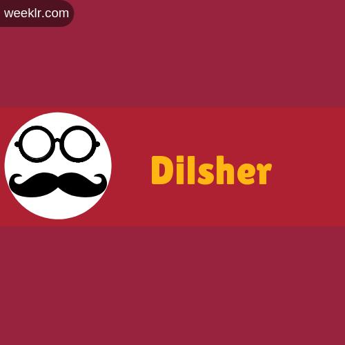 Moustache Men Boys Dilsher Name Logo images