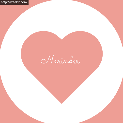 Pink Color Heart -Narinder- Logo Name