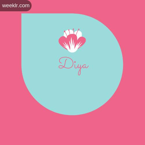 Pink Flowers  Diya Name Logo Images