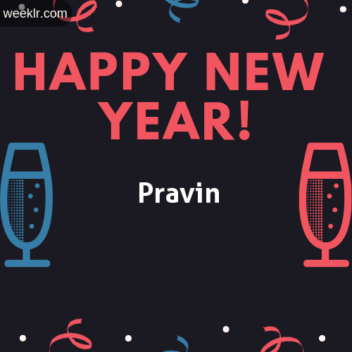 -Pravin- Name on Happy New Year Image