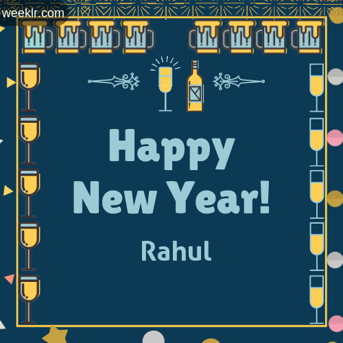 -Rahul- Name On Happy New Year Images