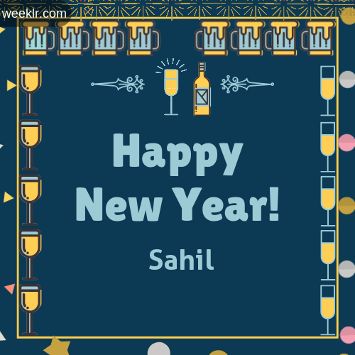 -Sahil- Name On Happy New Year Images