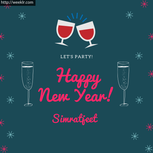 -Simratjeet- Happy New Year Name Greeting Photo