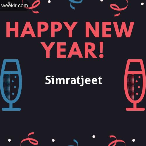 Simratjeet Name on Happy New Year Image