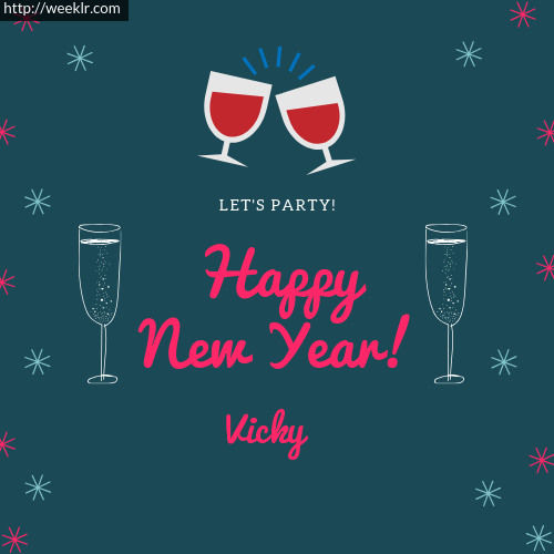 -Vicky- Happy New Year Name Greeting Photo