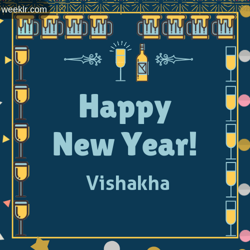 -Vishakha- Name On Happy New Year Images