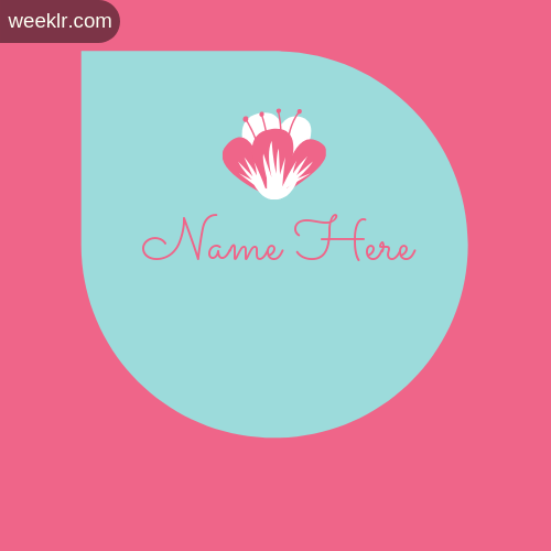 Pink Color Flowers Girls Name Logo Maker