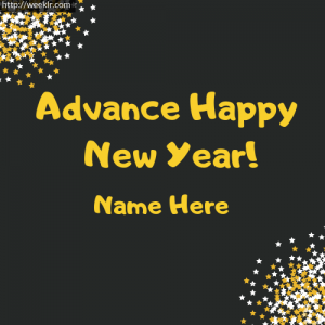 Write Name on Advance Happy New Year Photo Card