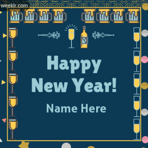 Write Name on Happy New Year Greeting Photo