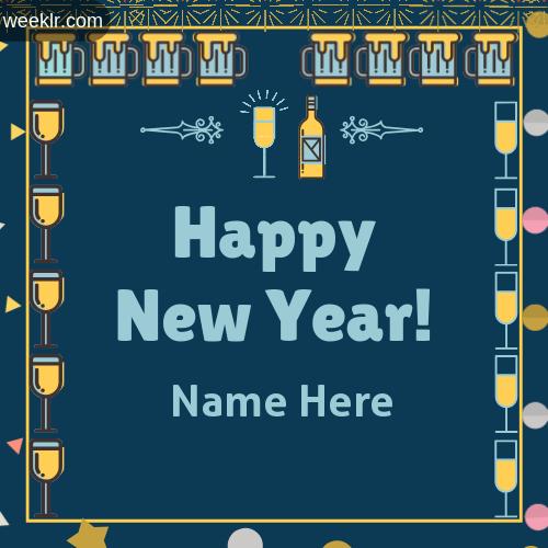 Write Name on Happy New Year Greeting Photo