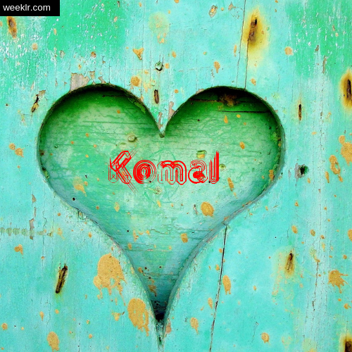 3D Heart Background image with -Komal- Name on it