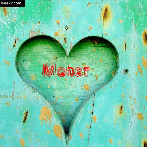 3D Heart Background image with Mehar Name on it