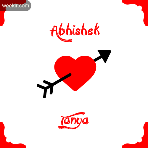 Abhishek Name on Cross Heart With  Tanya  Name Wallpaper Photo