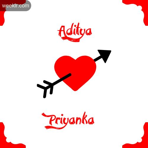Aditya Name on Cross Heart With  Priyanka  Name Wallpaper Photo