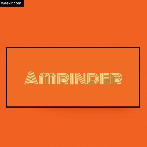 Amrinder Name Logo Photo - Orange Background Name Logo DP