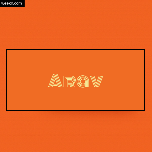 Arav Name Logo Photo - Orange Background Name Logo DP