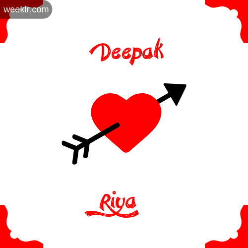 Deepak Name on Cross Heart With  Riya  Name Wallpaper Photo