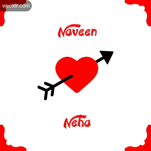 -Naveen- Name on Cross Heart With - Neha- Name Wallpaper Photo