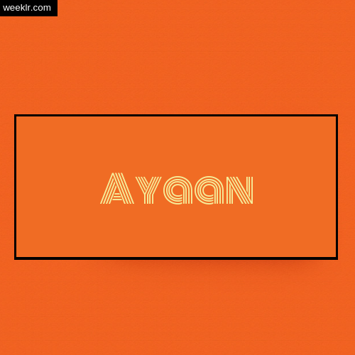 Ayaan Name Logo Photo - Orange Background Name Logo DP