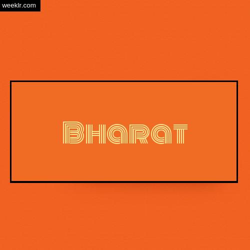 Bharat Name Logo Photo - Orange Background Name Logo DP