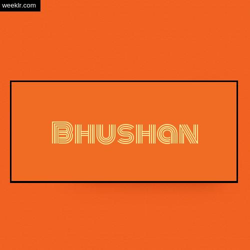 Bhushan Name Logo Photo - Orange Background Name Logo DP