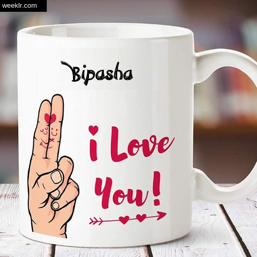 Bipasha Name on I Love You on Coffee Mug Gift Image