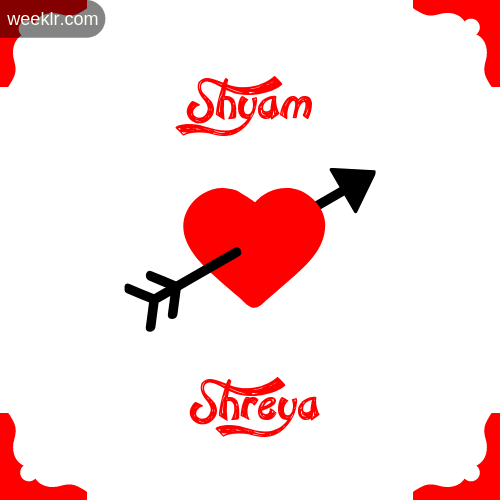 Shyam Name on Cross Heart With  Shreya  Name Wallpaper Photo