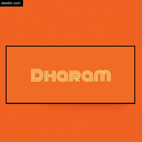 Dharam Name Logo Photo - Orange Background Name Logo DP