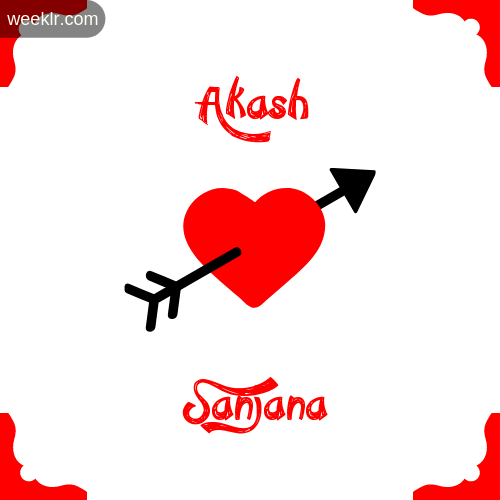 Akash Name on Cross Heart With  Sanjana  Name Wallpaper Photo