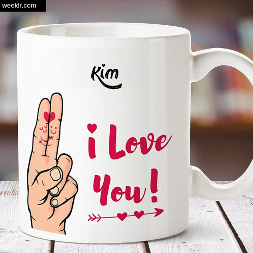 Kim Name on I Love You on Coffee Mug Gift Image