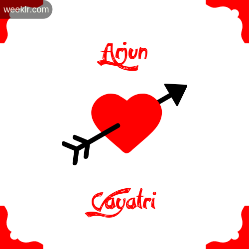 -Arjun- Name on Cross Heart With - Gayatri- Name Wallpaper Photo