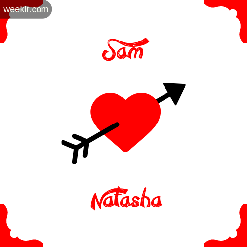 Sam Name on Cross Heart With  Natasha  Name Wallpaper Photo