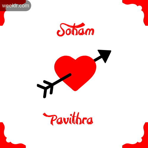 Soham Name on Cross Heart With  Pavithra  Name Wallpaper Photo