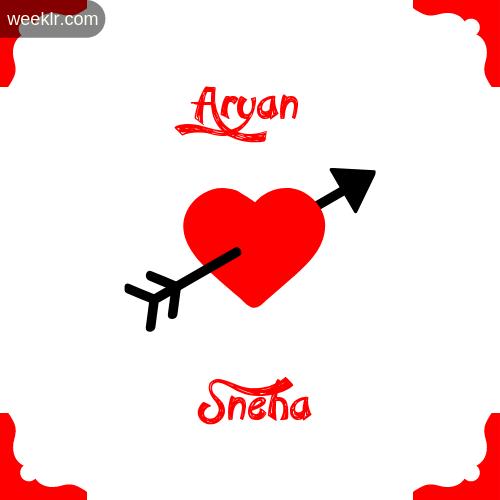 Aryan Name on Cross Heart With  Sneha  Name Wallpaper Photo