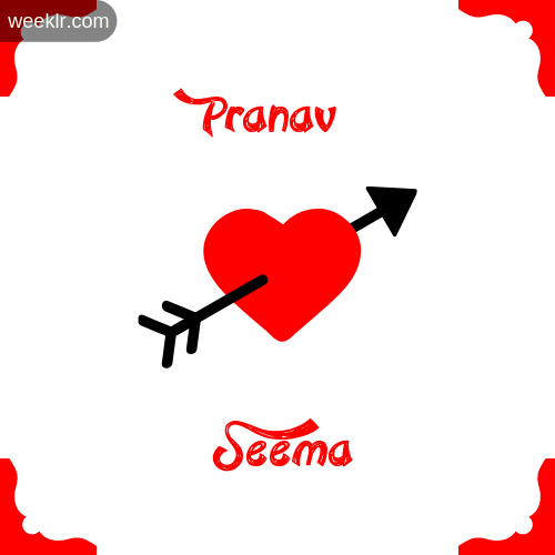 Pranav Name on Cross Heart With  Seema  Name Wallpaper Photo