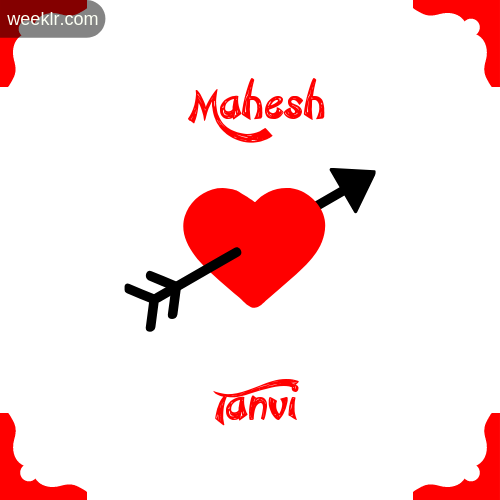 Mahesh Name on Cross Heart With  Tanvi  Name Wallpaper Photo